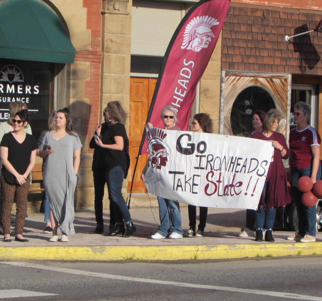 Supporters of the Lady Ironheads lined Main Street on Thursday, March 12, to wish the team well as it headed by bus to Oklahoma City for 2020 State 3A Basketball Tournament in Oklahoma City. Sadly, the tournament was postponed and the team had to turn aro