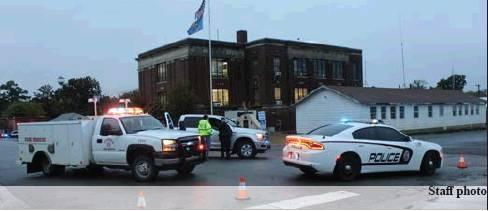 All streets surrounding the McIntosh County Courthouse were closed while the building was searched for a bomb following a threat made on Oct. 30.