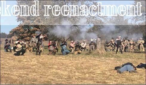 Staff photo by LaDonna Rhodes Dozens of re-enactors took part in last weekend's Battle of Honey Springs in Rentiesville. The battle was fought July 17, 1863. There were approximately 9,000 men involved including American Indians, veteran Texas regiments