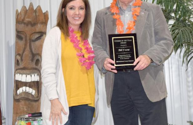 McIntosh County Democrat General Manager Shauna Belyeu awarded Bill Frame Citizen of the Year. Staff Photo